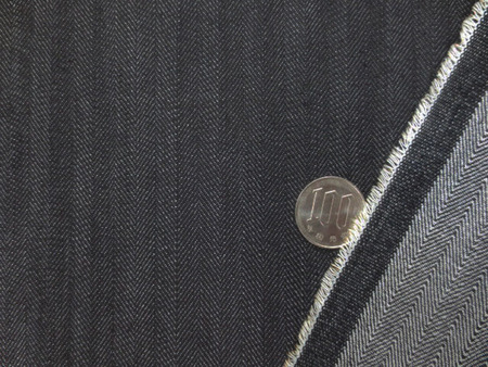 デニム 生地 8オンス ヘリンボーンデニム ストレッチ 濃紺1 148cm幅 [DE2208]