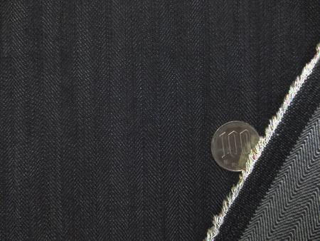 デニム 生地 8オンス ヘリンボーンデニム ストレッチ 濃紺3 147cm幅 [DE2210]