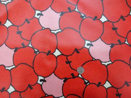 ラミネート 生地 BIGAPPLE う早この布 赤 コットンこばやし ビニルコーティング 110cm幅 [BN560]