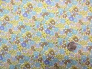 コットンこばやし  ブロード リバティ風小花プリント ブルー ライトグリーン パープルがかったダークブルー ベージュ
