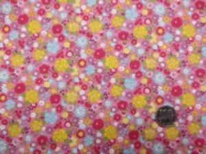 コットンこばやし  ブロード リバティ風小花プリント イエロー 濃ピンク ブルー小花/ 少し濃い目のピンク地