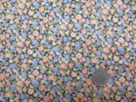 綿ローン 小花プリント  ダークブラウンがかった濃グレイ地 肌ざわりのいい生地です。