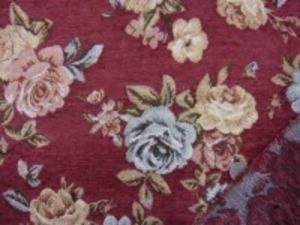 厚めのゴブラン織りの花柄 ワイン地