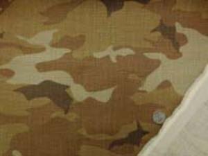 HARDMANS LINEN 綾織りの少し厚手のリネンプリント 迷彩 キャメル