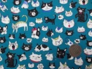 コットン オックス FUNNY CATS&DOGS ダークブルー地