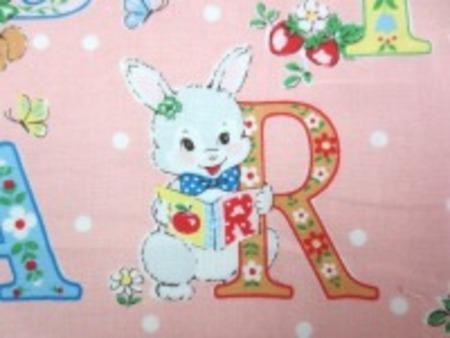 ATSUKO MATSUYAMA YUWA シャーティング かわいい動物とアルファベット ピンク地