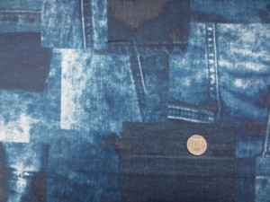 ダブルガーゼ 生地 デニムパッチワーク柄 ブルー系 110m幅 [PT4620]