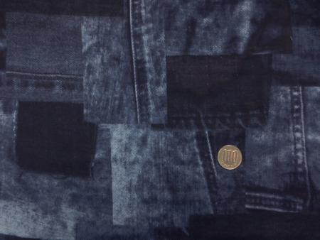 ダブルガーゼ 生地 デニムパッチワーク柄 ネイビー系 110m幅 [PT4621]