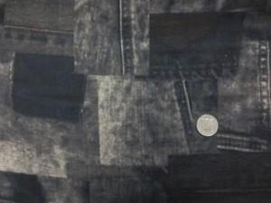 ダブルガーゼ 生地 デニムパッチワーク柄 ブラウンネイビー系 110m幅 [PT4623]