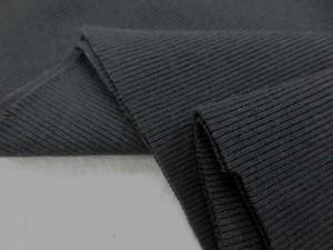 ニット 生地 リブニット チャコールグレイ 50cmW幅 [JJ1389]