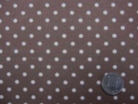 ナチュラル感のある綿麻ドットプリント 生成ドット/ブラウン地 オックスくらいの厚さの生地 ドットの大きさ4mm