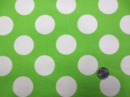 コットンオックスプリント 生成ドット/ライトグリーン地 きれいな明るい黄緑 ドットの大きさ 40mm