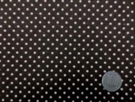 綿麻キャンバスのドットプリント 生成ドット/濃ブラウン地 オックスくらいの厚さの生地 ドットの大きさ 3mm