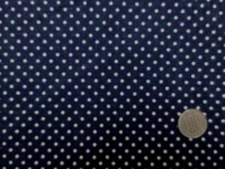 綿麻キャンバスのドットプリント 生成ドット/濃紺地 オックスくらいの厚さの生地 ドットの大きさ 3mm