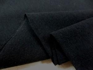 ニット 生地 リブニット ブラック 45cmW幅 [JJ1394]
