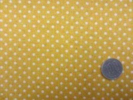 綿麻キャンバスのドットプリント 生成ドット/マスタードイエロー地 オックスくらいの厚さの生地 ドットの大きさ 3mm