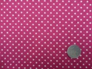 綿麻キャンバスのドットプリント 生成ドット/濃いピンク地 オックスくらいの厚さの生地 ドットの大きさ 3mm