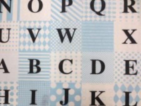 ナイロンタフタ 撥水加工 ブルー/白 モノトーンのパッチワーク柄に コントラストの強い黒の英字プリント