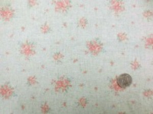 YUWA リネンレーヨンプリント オレンジ小花/エメグリーン地 形態安定加工で、縮みにくくなってます。