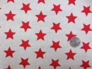 綿麻キャンバスの★プリント 赤/生成地 オックスくらいの厚さの生地 ★の大きさ25mm