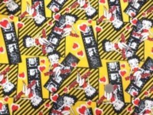 USA Camelot Fabricsの ベティーブープ 黄地プリントです。 あまりお目にかからないUSAコットン シーティングプリント