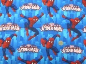 USA Camelot Fabricsの スパイダーマンブルー地のプリントです。 あまりお目にかからないUSAコットン シーティングプリント