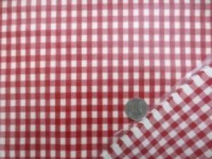 コットンギンガムチェック 赤/オフ白のビニールコーティング チェックの大きさ 5mm