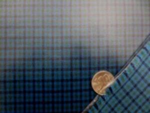 ビニールコーティング  シーティングくらいの厚さの綿の Fチェック  ダークブルーネイビーにコーティング チェックの大きさ 8mm