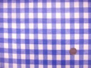 広幅のビニールコーティング  さわやかなハーフリネンのブルーの ギンガムチェックにコーティング チェックの大きさ 1.5cm