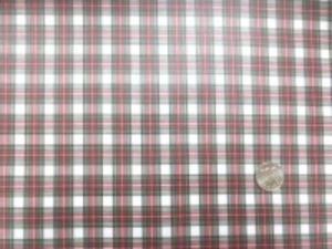 幅広のビニールコーティング  ブロードくらいの厚さの綿の ミニタータンチェック スチュアートドレス 白地 チェックの大きさ 20mm