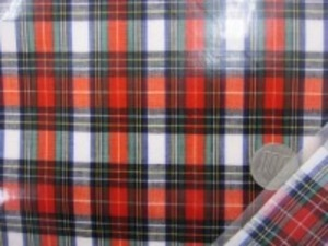 ビニールコーティング  タータンチェック 白地 少し薄手平織りのスチュアートドレス つやありのビニール加工