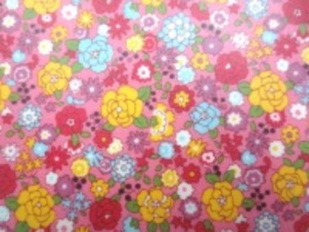 ビニールコーティング  小花ブロード   ブルー ダークレッド 黄小花/ 濃ピンク地