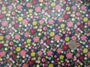 ビニールコーティング  小花ブロード   ピンク ダークレッド 黄小花/ ダークブルーグレイ地