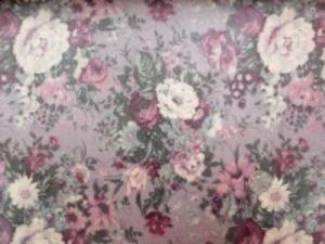 YUWA 綿麻キャンバス 花柄の ビニールコーティング  ワイン/パープル地