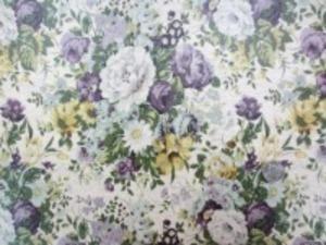 YUWA 綿麻キャンバス 花柄の ビニールコーティング  パープル/生成地