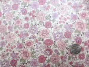 YUWA 綿麻キャンバス 花柄の ビニールコーティング  ダークピンク/生成地