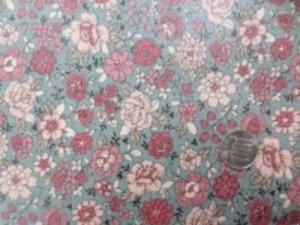 YUWA 綿麻キャンバス 花柄の ビニールコーティング  ピンク/グレイ地