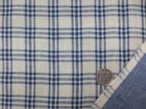 ダブルガーゼのインディゴチェック 柔らかい風合いの日本製 濃紺(インディゴ)/生成 チェックの大きさ 3cm 裏 ダンガリーのようなインディゴカラー