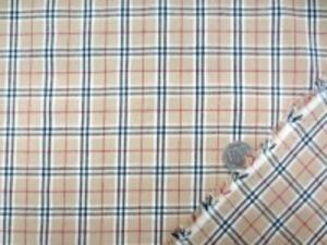 ブロードくらいの厚さの 平織りチェック 赤 黒ライン/ベージュ地