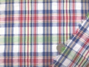 先染サッカー チェック マドラスチェックのような雰囲気でも 日本製です。 濃紺/赤/黄色/グリーン/白地