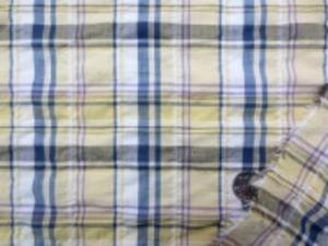 ブロードより少し薄めの 綿麻シャーリングチェック 薄い黄 パープル 白 グレイがかったネイビー