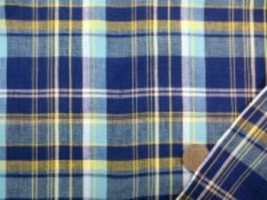 インド綿 マドラスチェック 手作りの素朴な風合い ナチュラルな粗っぽさが魅力 洗うほどにいい感じになります。 チェックの大きさ 8cm ブルー 濃紺 黄 オフ白