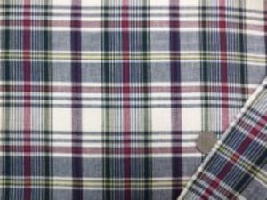 インド綿 マドラスチェック 手作りの素朴な風合い ナチュラルな粗っぽさが魅力 洗うほどにいい感じになります。 チェックの大きさ 10cm ダークレッド オフ白 濃紺 イエロー