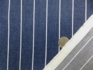 ヒッコリーストライプ  6.5オンスくらいの厚さ 白/フェイドネイビー SR648より少し薄い色合いの紺 白部分の幅 1.5mm フェイド部分の幅 24mm
