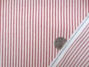 ヒッコリーストライプ 7オンスデニムくらいの厚さの生地 オフ白(生成りっぽい)/赤 オフ白部分の幅 3mm 赤部分の幅 1.5mm