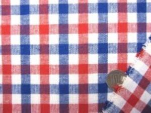 麻の混率の高い 2色使いの綿麻ギンガムチェック 何にでも使いやすい厚さ チェックの大きさ 10mm 赤/紺/白 トリコロールカラー