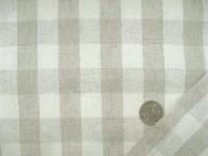 麻の混率の高い綿麻ギンガムチェック 何にでも使いやすい厚さ チェックの大きさ 20mm 麻カラー/生成