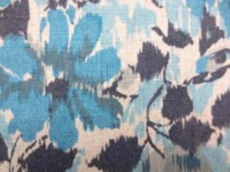 YUWA リネンプリント  エアタンブラーワッシャー ダークブルー 濃グレイ系 柔らかい風合い