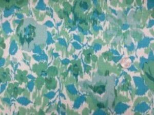 YUWA リネンプリント  エアタンブラーワッシャー ダークブルー グリーン系 柔らかい風合い