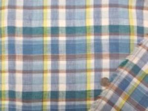 リネンチェック ブルー ネイビー 白 ブラウン マドラスチェックのようなチェック チェックの大きさ 10cm